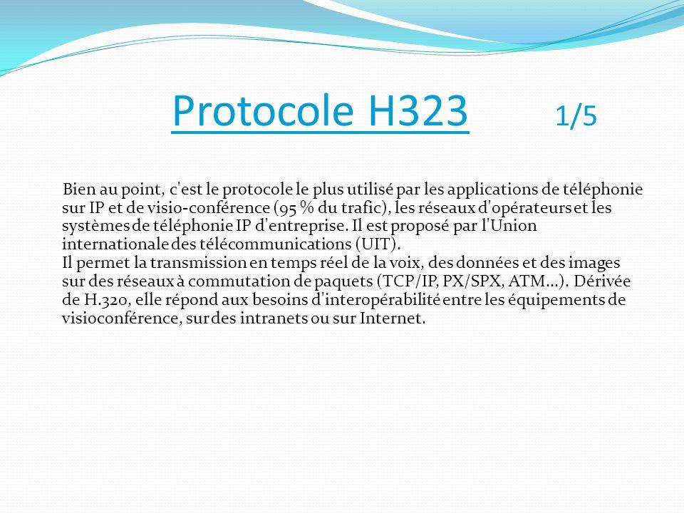 Protocole H323 1/5 Bien au point, c'est le protocole le plus utilisé par les applications de téléphonie sur IP et de visio-conférence (95 % du trafic)