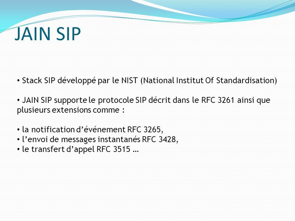 JAIN SIP Stack SIP développé par le NIST (National Institut Of Standardisation) JAIN SIP supporte le protocole SIP décrit dans le RFC 3261 ainsi que p