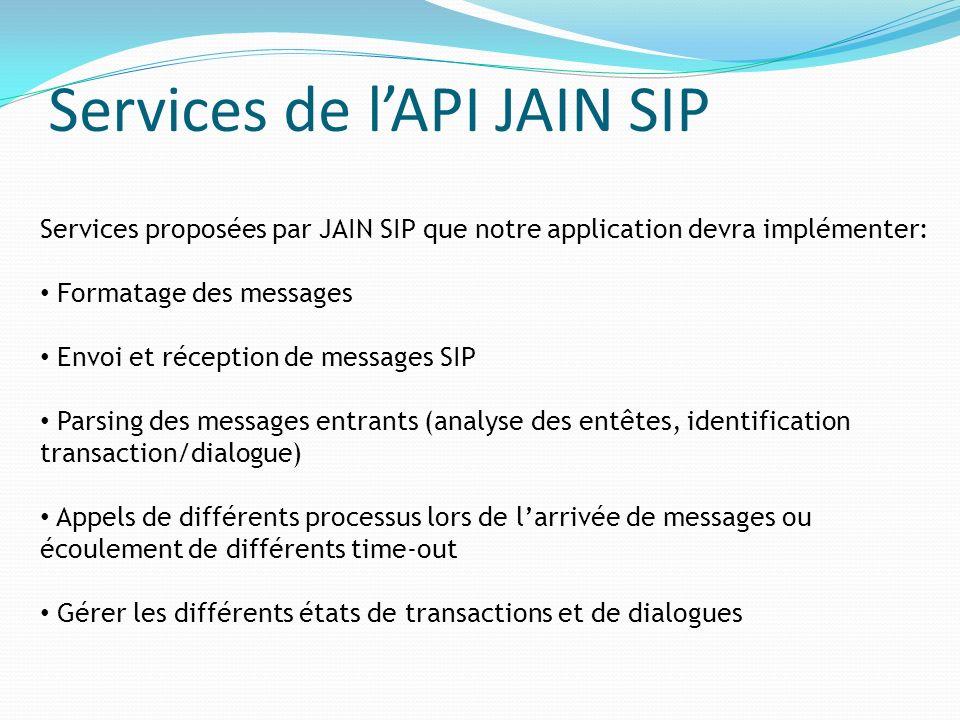 Services de lAPI JAIN SIP Services proposées par JAIN SIP que notre application devra implémenter: Formatage des messages Envoi et réception de messag