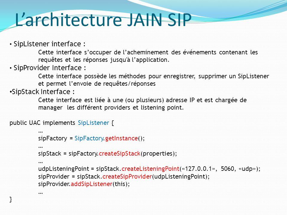 SipListener interface : Cette interface soccuper de lacheminement des événements contenant les requêtes et les réponses jusqu'à lapplication. SipProvi