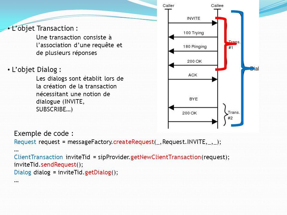 Lobjet Transaction : Une transaction consiste à lassociation dune requête et de plusieurs réponses Lobjet Dialog : Les dialogs sont établit lors de la