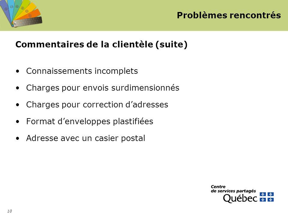 10 Problèmes rencontrés Commentaires de la clientèle (suite) Connaissements incomplets Charges pour envois surdimensionnés Charges pour correction dadresses Format denveloppes plastifiées Adresse avec un casier postal