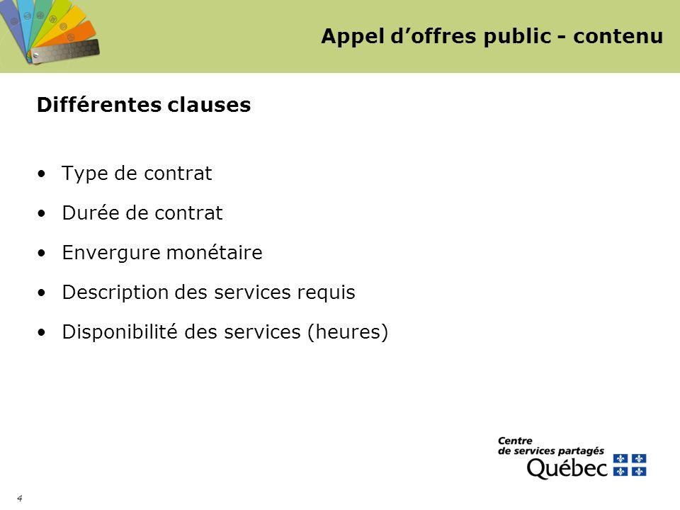 4 Appel doffres public - contenu Différentes clauses Type de contrat Durée de contrat Envergure monétaire Description des services requis Disponibilité des services (heures)