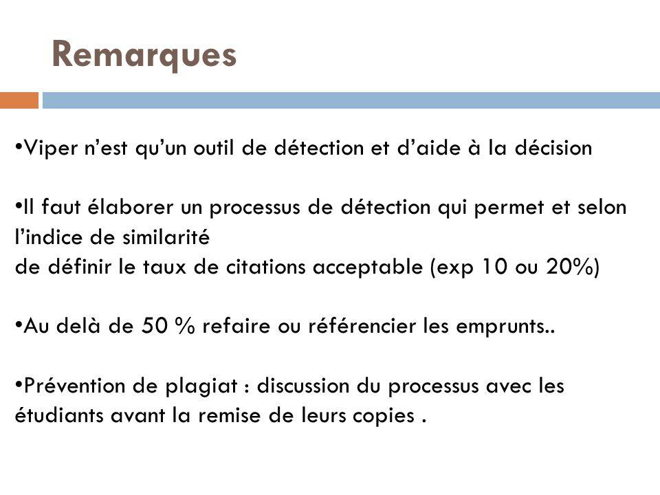 Viper nest quun outil de détection et daide à la décision Il faut élaborer un processus de détection qui permet et selon lindice de similarité de définir le taux de citations acceptable (exp 10 ou 20%) Au delà de 50 % refaire ou référencier les emprunts..
