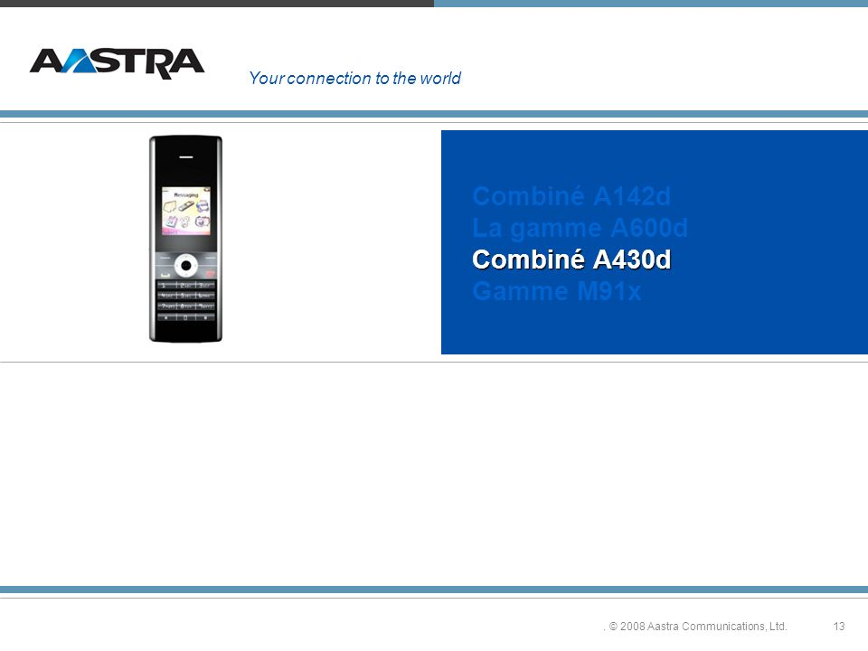 13. © 2008 Aastra Communications, Ltd. Combiné A430d Combiné A142d La gamme A600d Combiné A430d Gamme M91x Your connection to the world