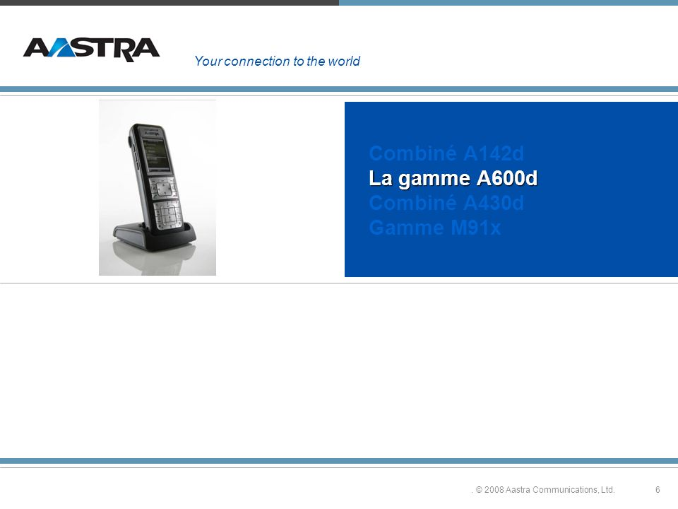 6. © 2008 Aastra Communications, Ltd. La gamme A600d Combiné A142d La gamme A600d Combiné A430d Gamme M91x Your connection to the world