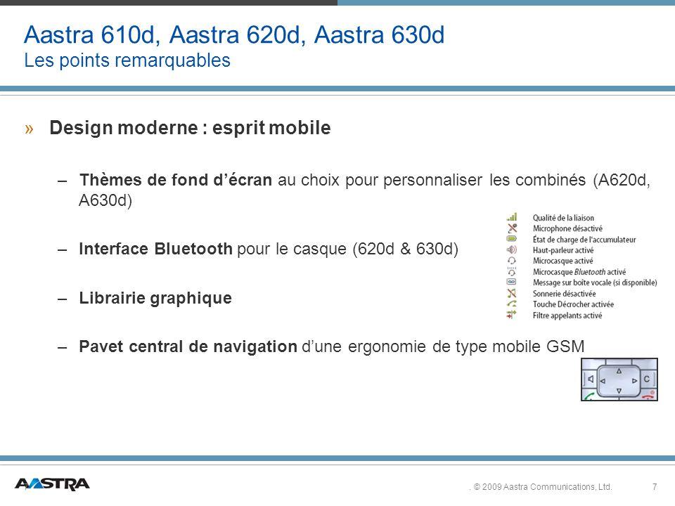 7. © 2009 Aastra Communications, Ltd.7 Aastra 610d, Aastra 620d, Aastra 630d Les points remarquables »Design moderne : esprit mobile –Thèmes de fond d
