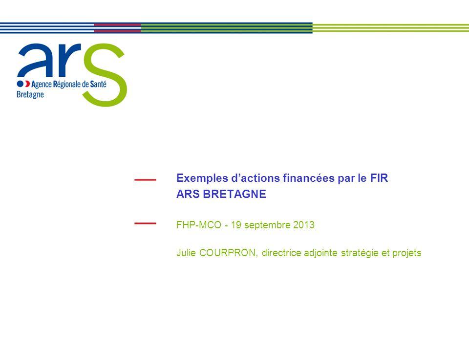 2 Le FIR en région Bretagne en 2013 141 M de budget, ventilés sur les missions suivantes: - Permanence des soins (43M) - Amélioration de la qualité et de la coordination des soins (80,6M) - Modernisation, adaptation, restructuration de loffre (1,2M) - Amélioration des conditions de travail, accompagnement social (1M) - Prévention /promotion de la santé, veille et sécurité sanitaire (12,7M) - Mutualisation des moyens - Prévention et prise en charge des personnes âgées et handicapées (2M) …la fongibilité asymétrique utilisée au bénéfice des enveloppes de prévention/promotion de la santé et des prises en charge dans le secteur médico-social