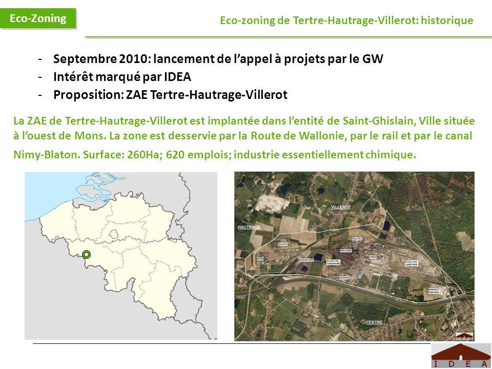 Logo IDEA Eco-Zoning Eco-zoning de Tertre-Hautrage-Villerot: historique -Septembre 2010: lancement de lappel à projets par le GW -Intérêt marqué par I