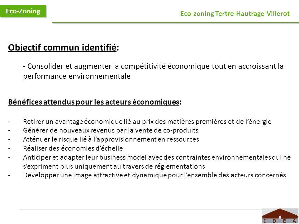 Objectif commun identifié: - Consolider et augmenter la compétitivité économique tout en accroissant la performance environnementale Bénéfices attendu