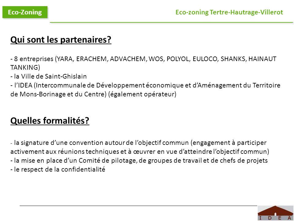 Logo IDEA Eco-Zoning Eco-zoning Tertre-Hautrage-Villerot Qui sont les partenaires? - 8 entreprises (YARA, ERACHEM, ADVACHEM, WOS, POLYOL, EULOCO, SHAN