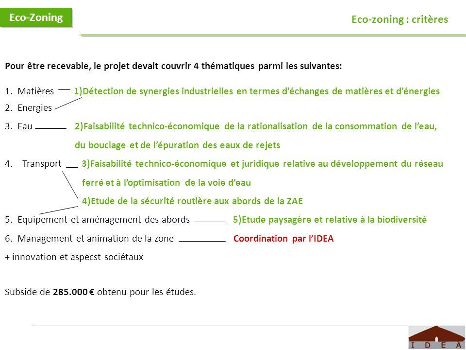 Logo IDEA Eco-Zoning Eco-zoning : critères Pour être recevable, le projet devait couvrir 4 thématiques parmi les suivantes: 1. Matières 1)Détection de
