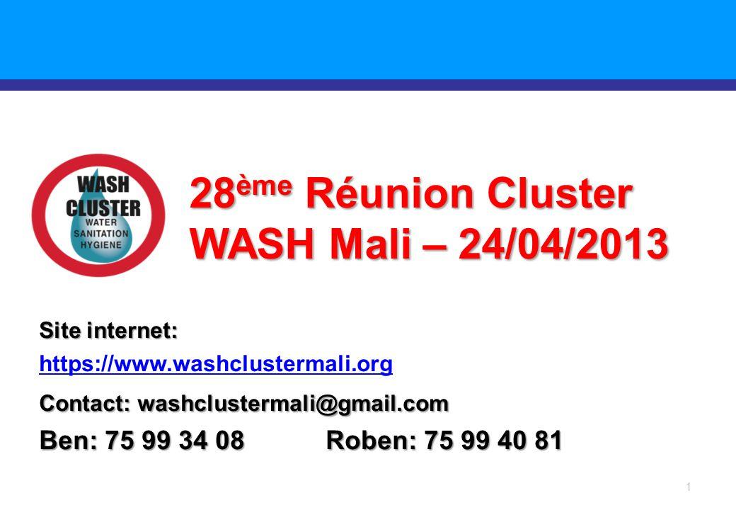 Introduction ORDRE DU JOUR Bienvenue et Tour du Table Explication et calendrier pour la revue de l appel consolidé et la stratégie sectorielle WASH en urgence Examen de la réponse WASH dans chaque région á jour.
