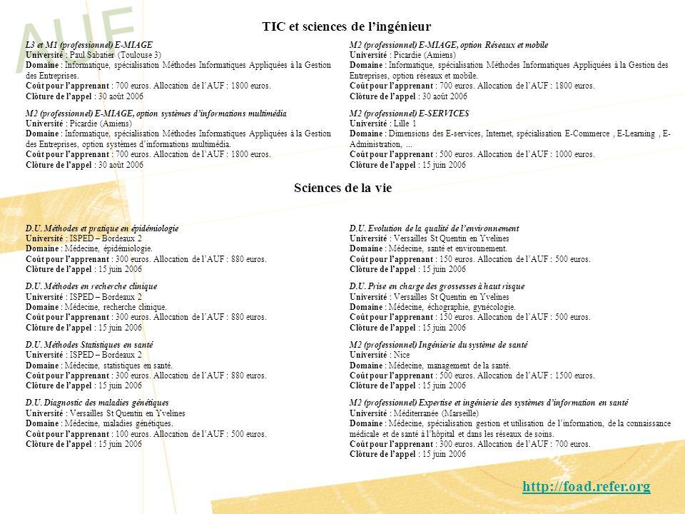 TIC et sciences de lingénieur M2 (professionnel) E-MIAGE, option Réseaux et mobile Université : Picardie (Amiens) Domaine : Informatique, spécialisati