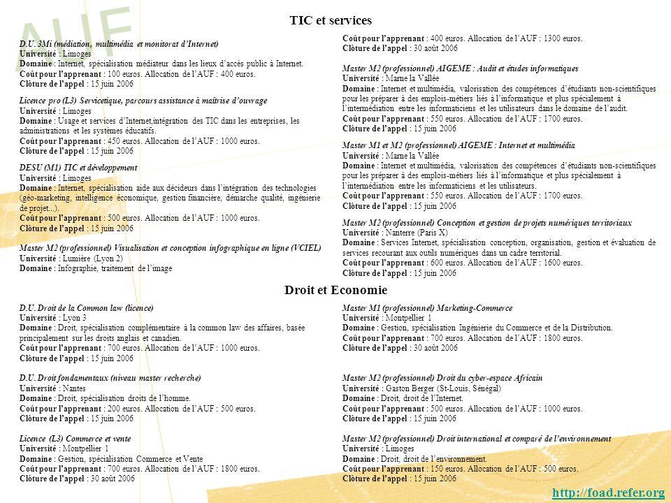 D.U. 3Mi (médiation, multimédia et monitorat dInternet) Université : Limoges Domaine : Internet, spécialisation médiateur dans les lieux daccès public