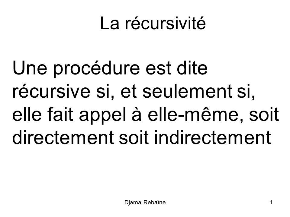 Djamal Rebaïne1 1 La récursivité Une procédure est dite récursive si, et seulement si, elle fait appel à elle-même, soit directement soit indirectemen