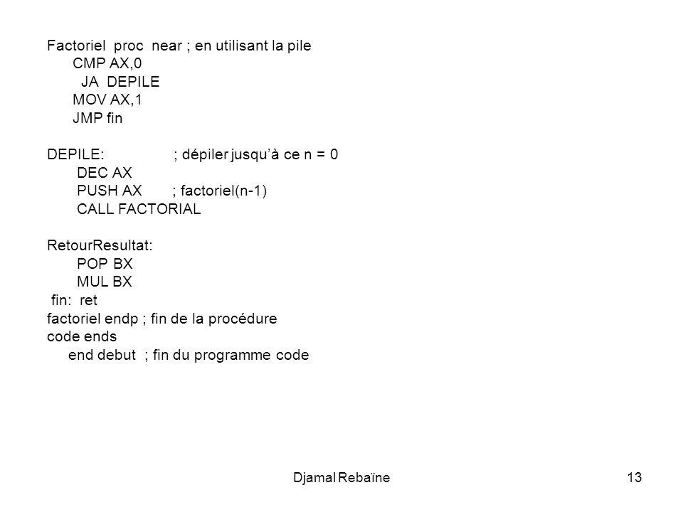 Djamal Rebaïne13 Factoriel proc near ; en utilisant la pile CMP AX,0 JA DEPILE MOV AX,1 JMP fin DEPILE: ; dépiler jusquà ce n = 0 DEC AX PUSH AX ; fac