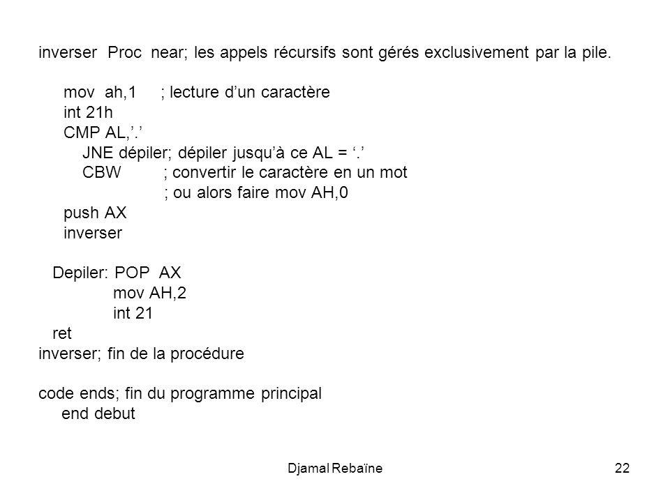Djamal Rebaïne22 inverser Proc near; les appels récursifs sont gérés exclusivement par la pile. mov ah,1 ; lecture dun caractère int 21h CMP AL,. JNE