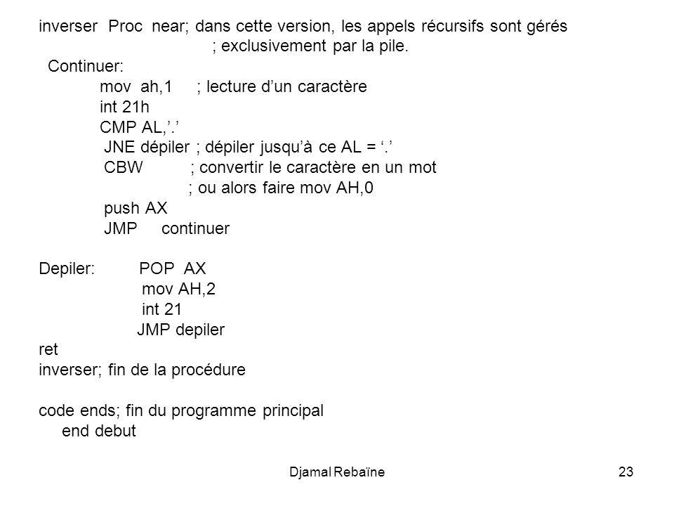 inverser Proc near; dans cette version, les appels récursifs sont gérés ; exclusivement par la pile. Continuer: mov ah,1 ; lecture dun caractère int 2