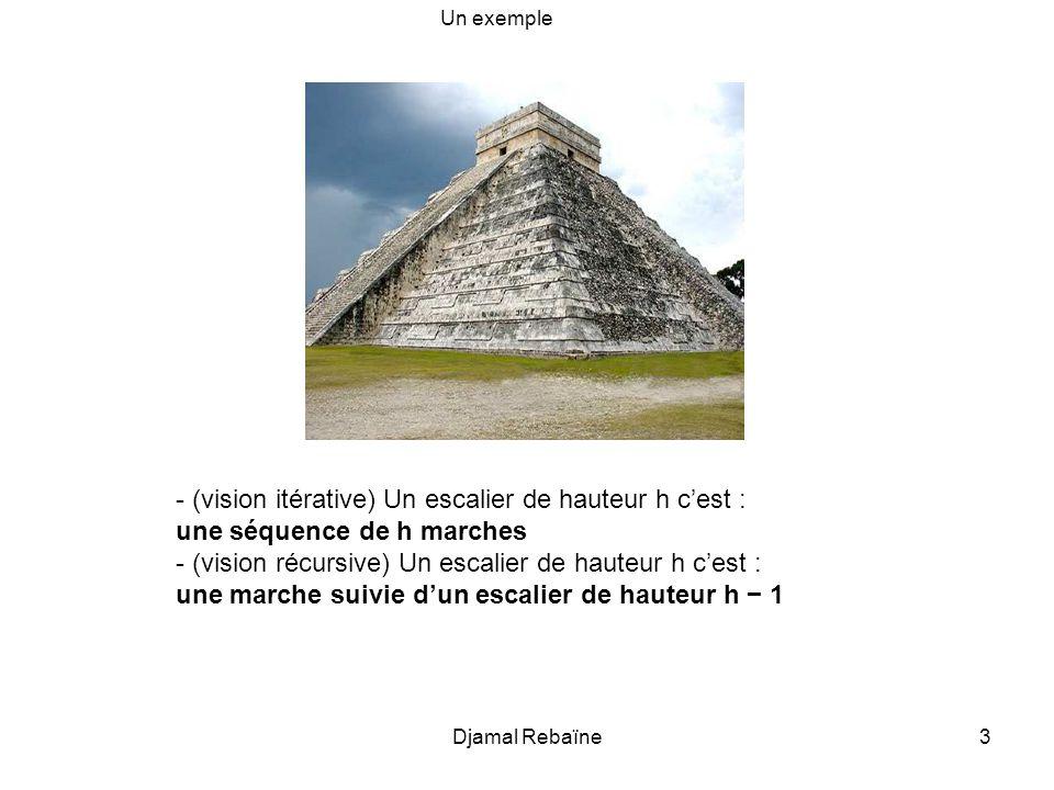 3 - (vision itérative) Un escalier de hauteur h cest : une séquence de h marches - (vision récursive) Un escalier de hauteur h cest : une marche suivi