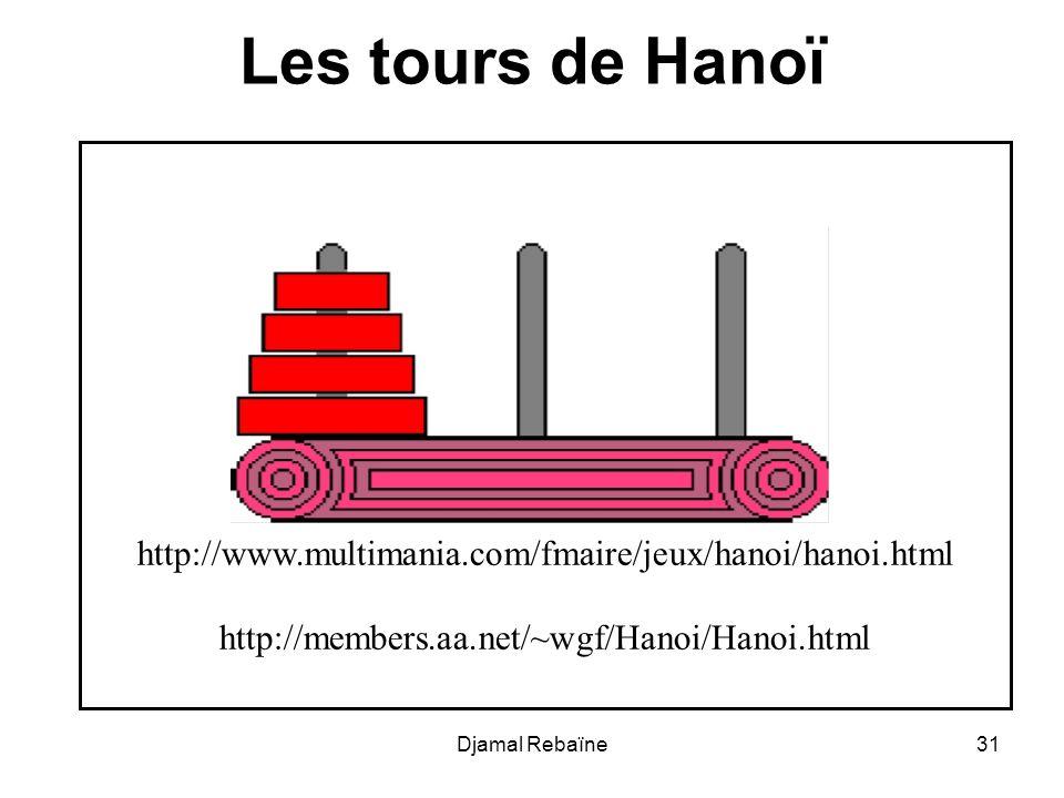 Djamal Rebaïne31 Les tours de Hanoï http://www.multimania.com/fmaire/jeux/hanoi/hanoi.html http://members.aa.net/~wgf/Hanoi/Hanoi.html