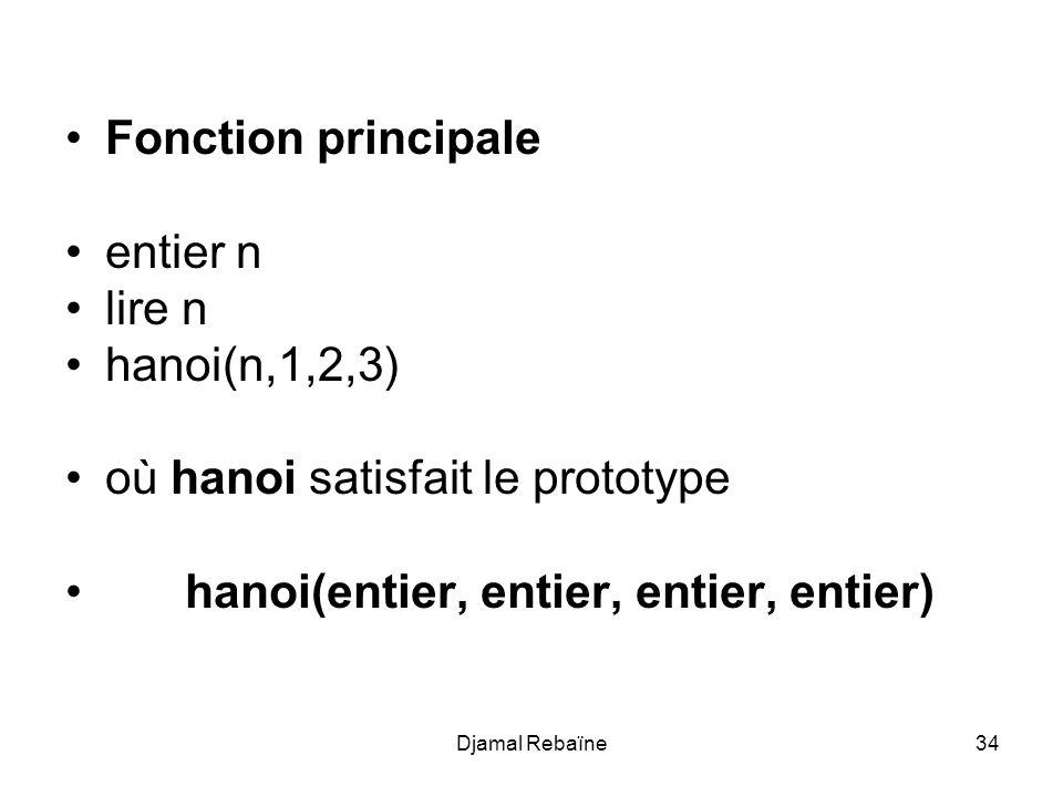 Djamal Rebaïne34 Fonction principale entier n lire n hanoi(n,1,2,3) où hanoi satisfait le prototype hanoi(entier, entier, entier, entier)