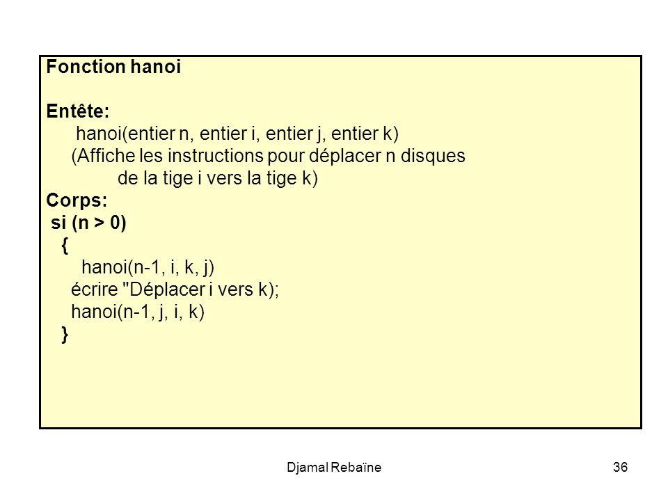 Djamal Rebaïne36 Fonction hanoi Entête: hanoi(entier n, entier i, entier j, entier k) (Affiche les instructions pour déplacer n disques de la tige i v