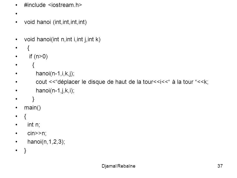 Djamal Rebaïne37 #include void hanoi (int,int,int,int) void hanoi(int n,int i,int j,int k) { if (n>0) { hanoi(n-1,i,k,j); cout <<déplacer le disque de
