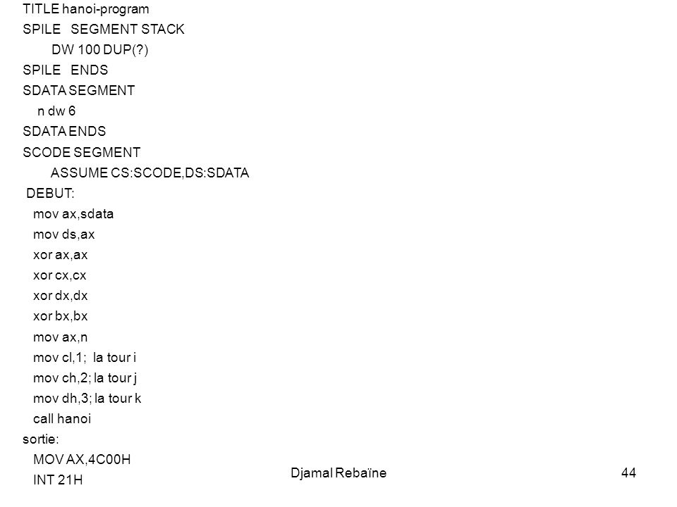 Djamal Rebaïne44 TITLE hanoi-program SPILE SEGMENT STACK DW 100 DUP(?) SPILE ENDS SDATA SEGMENT n dw 6 SDATA ENDS SCODE SEGMENT ASSUME CS:SCODE,DS:SDA