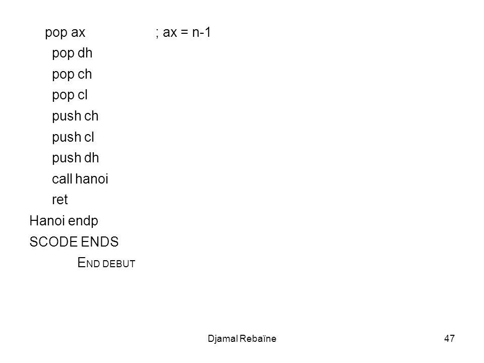Djamal Rebaïne47 pop ax ; ax = n-1 pop dh pop ch pop cl push ch push cl push dh call hanoi ret Hanoi endp SCODE ENDS E ND DEBUT