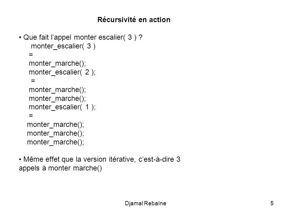 5 Récursivité en action Que fait lappel monter escalier( 3 ) ? monter_escalier( 3 ) = monter_marche(); monter_escalier( 2 ); = monter_marche(); monter