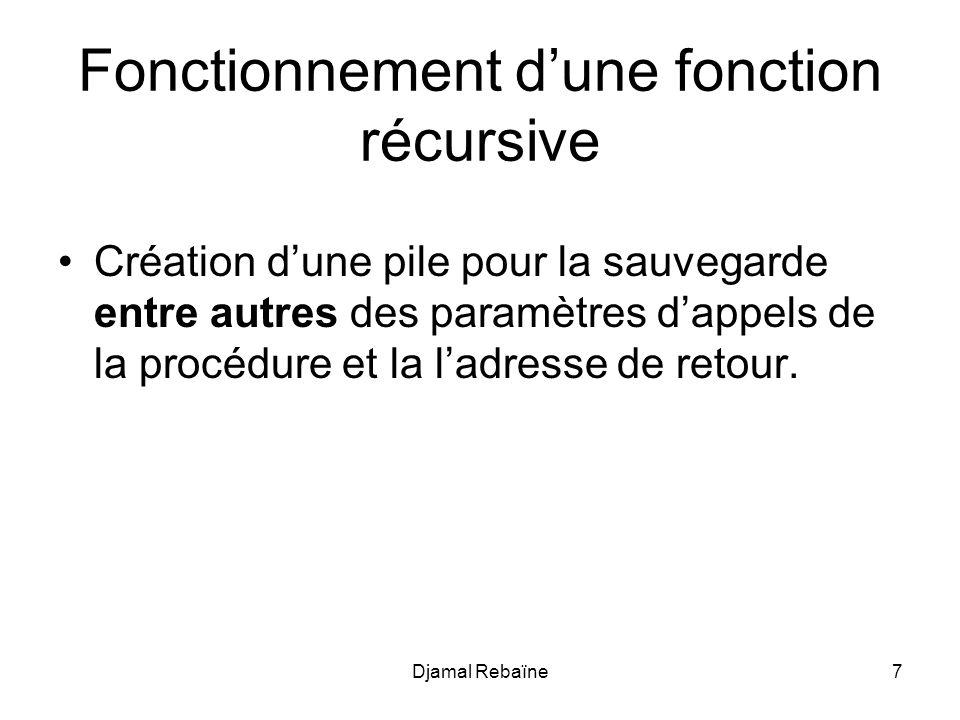 Djamal Rebaïne7 Fonctionnement dune fonction récursive Création dune pile pour la sauvegarde entre autres des paramètres dappels de la procédure et la