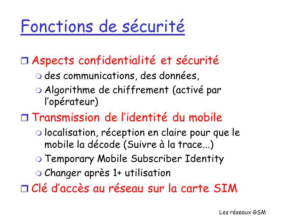 Les réseaux GSM Fonctions de sécurité r Aspects confidentialité et sécurité m des communications, des données, m Algorithme de chiffrement (activé par