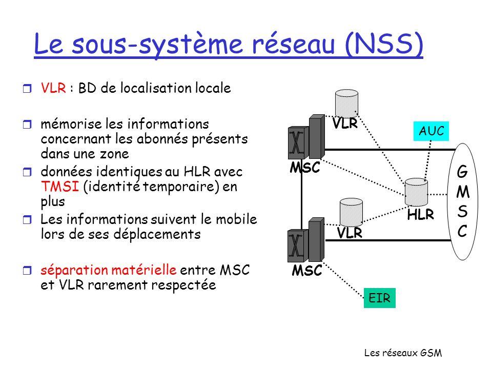 Les réseaux GSM Le sous-système réseau (NSS) r VLR : BD de localisation locale r mémorise les informations concernant les abonnés présents dans une zo