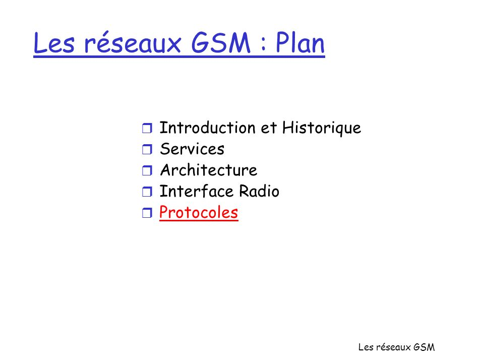 Les réseaux GSM Les réseaux GSM : Plan r Introduction et Historique r Services r Architecture r Interface Radio r Protocoles