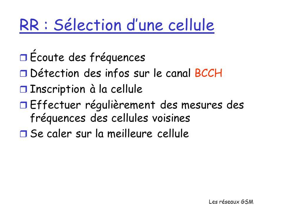 Les réseaux GSM RR : Sélection dune cellule r Écoute des fréquences r Détection des infos sur le canal BCCH r Inscription à la cellule r Effectuer rég