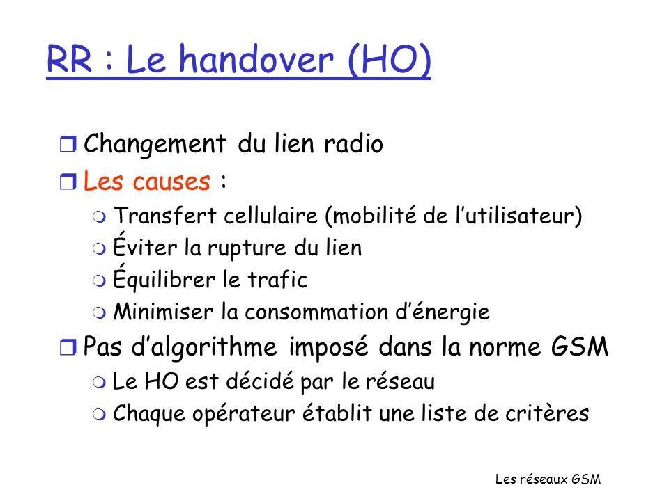Les réseaux GSM RR : Le handover (HO) r Changement du lien radio r Les causes : m Transfert cellulaire (mobilité de lutilisateur) m Éviter la rupture