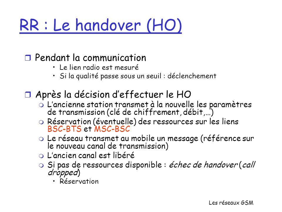 Les réseaux GSM RR : Le handover (HO) r Pendant la communication Le lien radio est mesuré Si la qualité passe sous un seuil : déclenchement r Après la