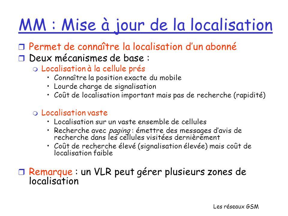 Les réseaux GSM MM : Mise à jour de la localisation r Permet de connaître la localisation dun abonné r Deux mécanismes de base : m Localisation à la c