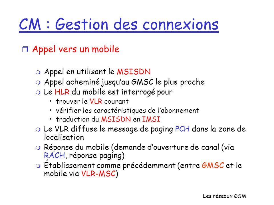 Les réseaux GSM CM : Gestion des connexions r Appel vers un mobile m Appel en utilisant le MSISDN m Appel acheminé jusquau GMSC le plus proche m Le HL