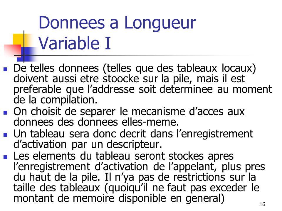 16 Donnees a Longueur Variable I De telles donnees (telles que des tableaux locaux) doivent aussi etre stoocke sur la pile, mais il est preferable que laddresse soit determinee au moment de la compilation.
