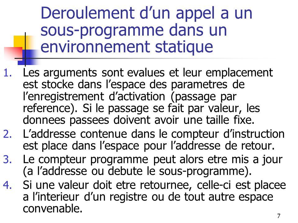 8 Environnement fonde sur une Pile Dans les langages a portee lexicale qui permettent la recursivite, lenvironnement repose sur une pile.