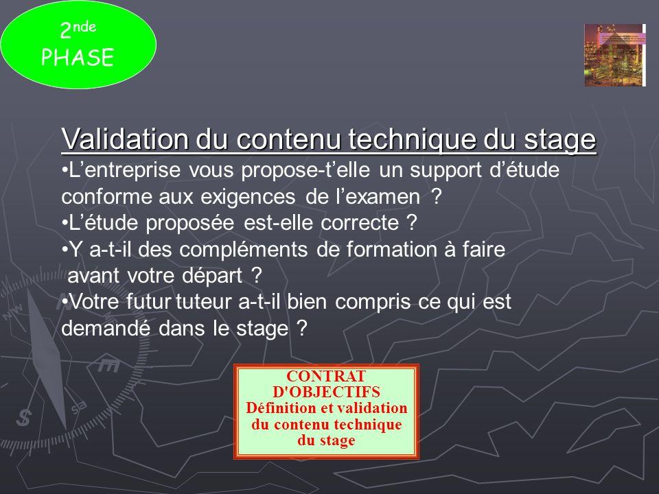 2 nde PHASE Validation du contenu technique du stage Lentreprise vous propose-telle un support détude conforme aux exigences de lexamen ? Létude propo