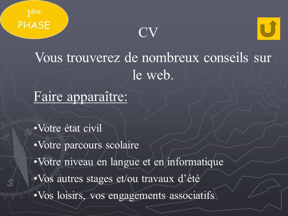1 ére PHASE CV Vous trouverez de nombreux conseils sur le web. Faire apparaître: Votre état civil Votre parcours scolaire Votre niveau en langue et en