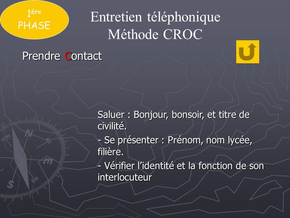 1 ére PHASE Entretien téléphonique Méthode CROC Exposer clairement le motif de lappel.