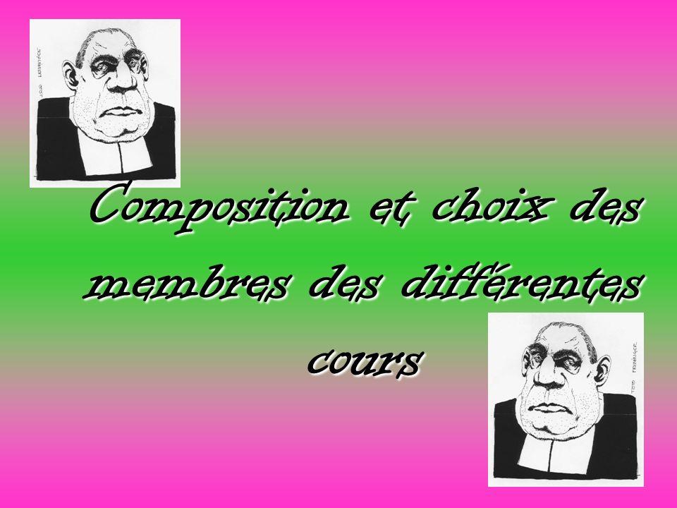 Composition et choix des membres des différentes cours