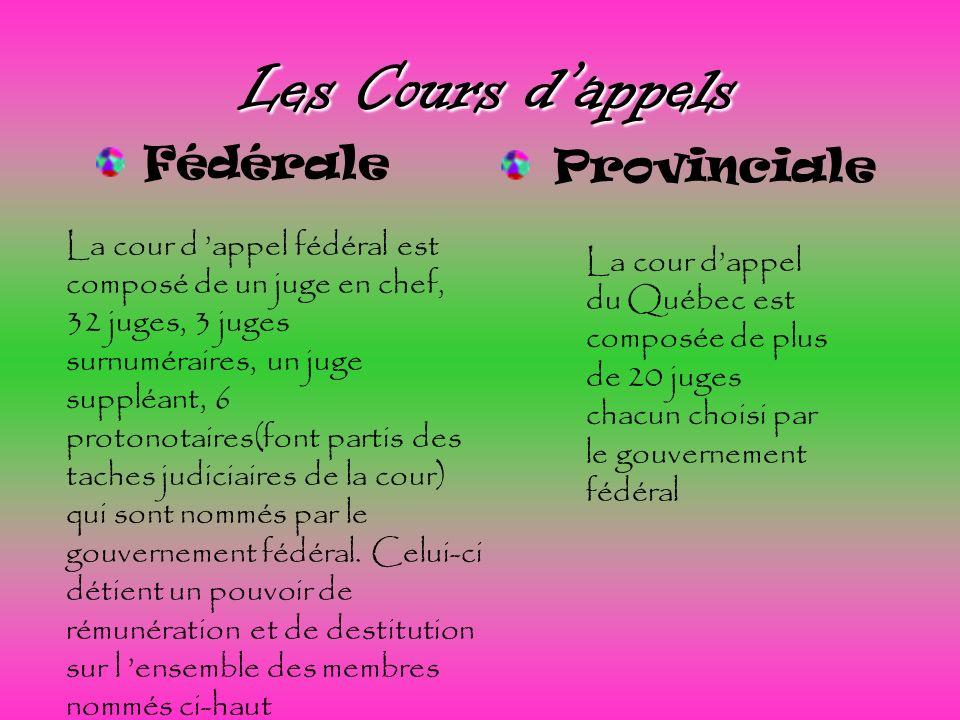 Les Cours dappels Provinciale La cour d appel fédéral est composé de un juge en chef, 32 juges, 3 juges surnuméraires, un juge suppléant, 6 protonotai