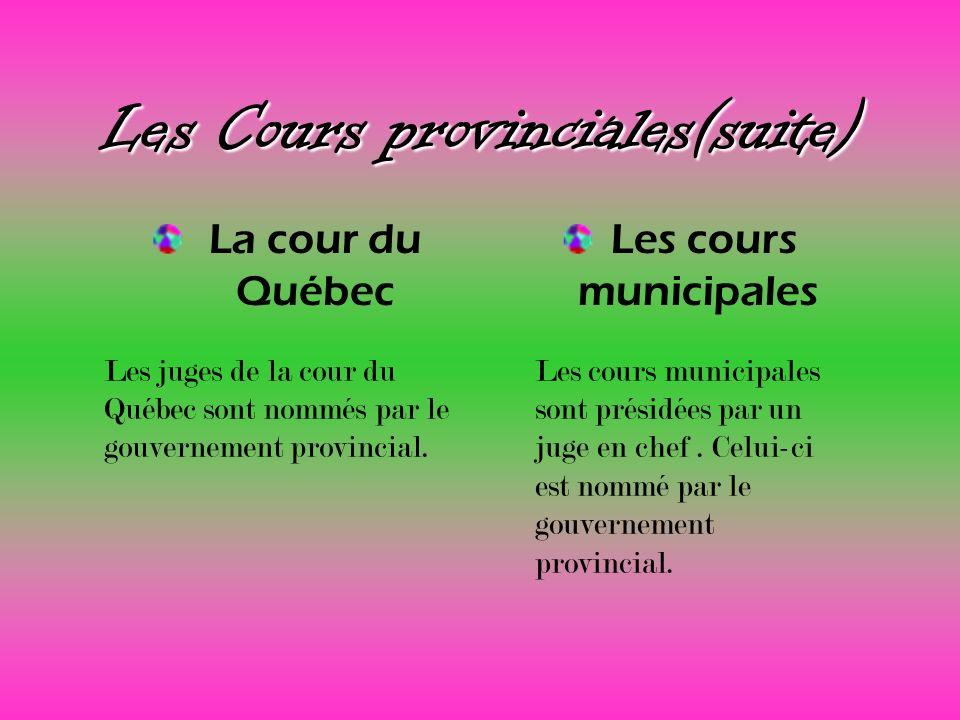 Les Cours provinciales(suite) La cour du Québec Les cours municipales Les juges de la cour du Québec sont nommés par le gouvernement provincial. Les c