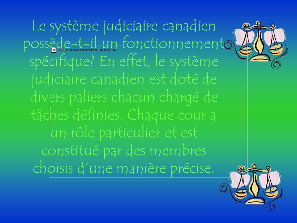 Le système judiciaire canadien possède-t-il un fonctionnement spécifique? En effet, le système judiciaire canadien est doté de divers paliers chacun c