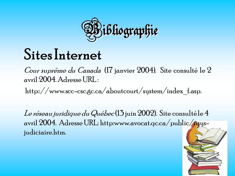 Bibliographie Sites Internet Cour suprême du Canada (17 janvier 2004). Site consulté le 2 avril 2004. Adresse URL : http:://www.scc-csc.gc.ca/aboutcou